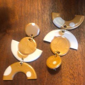 Gold&White Polka Dot Earrings